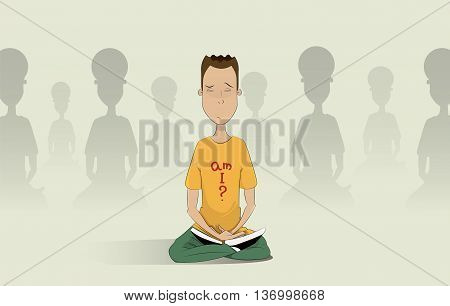 man meditating in the hall of the ashram. Spiritual, religious, find themselves cultivation, seclusion concept illustration. Vector