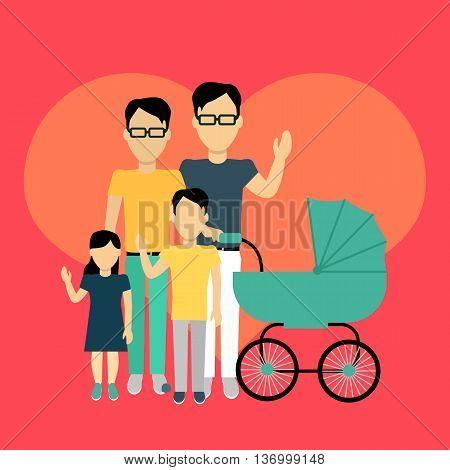 Happy family homosexual concept banner design flat style. Young family gay man with a son and daughter and a stroller for a newborn. Father with child happiness lifestyle, vector illustration