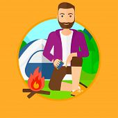 A hipster man with the beard kindling a campfire on the background of camping site with tent. Tourist relaxing near campfire. Vector flat design illustration in the circle isolated on background. poster