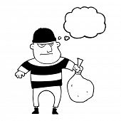 freehand drawn thought bubble cartoon burglar with loot bag poster
