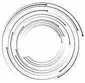 Concentric circular arrows. Random dynamic circle arrows. poster