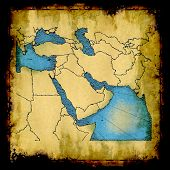 Antique faded map of the Middle East poster