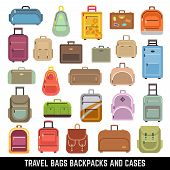 Travel bags backpacks and cases color vector icons. Bag and case for travel, set of icon luggage and bags. Vector illustration poster