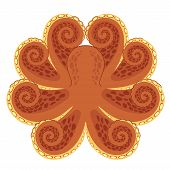 Stylized symmetrical graphic of octopus. Vector illustration. poster