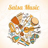 Salsa musical card. Invitation of latino musical instruments. Latino background can be used as invitation card for wedding, birthday and other holiday and summer background. Vector illustration. poster