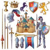 Knight decorative icons set with medieval castle golden goblet armour crown edged weapon shield isolated vector illustration poster