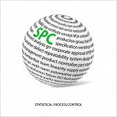 Statistical process control word ball. White ball with main title SPC and filled by other words related with SPC method. Vector illustration poster