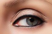 Oriental style. Sensual arabic woman model. Beautiful clean skin saturated make-up. Bright eye make-up and dark eyeliner poster
