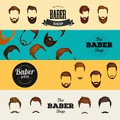 Peoples hairstyle icon, collection of beards and mustaches for barbershop.Mans trendy haircut types for barber shop. Isolated collection of mans beards design, haircut of head heir and mustaches.Hipster hair and beards, fashion vector illustration set. poster
