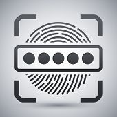 Vector Information Security Concept - Fingerprint Scanner and Password icon. Information Security Concept - Fingerprint Scanner and Password simple icon on a light gray background poster