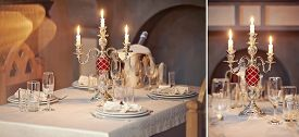 table setting in gourmet restaurant. collage close up