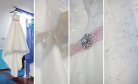 collage of a beautiful detail of wedding dresses
