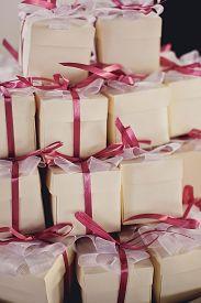colorful gifts box close up . wedding box.