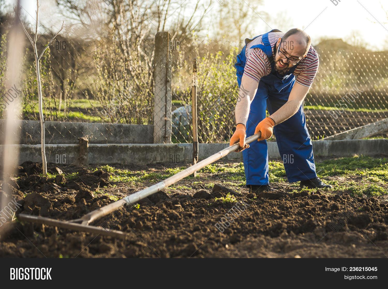 Farmer Working Garden Image & Photo (Free Trial) | Bigstock