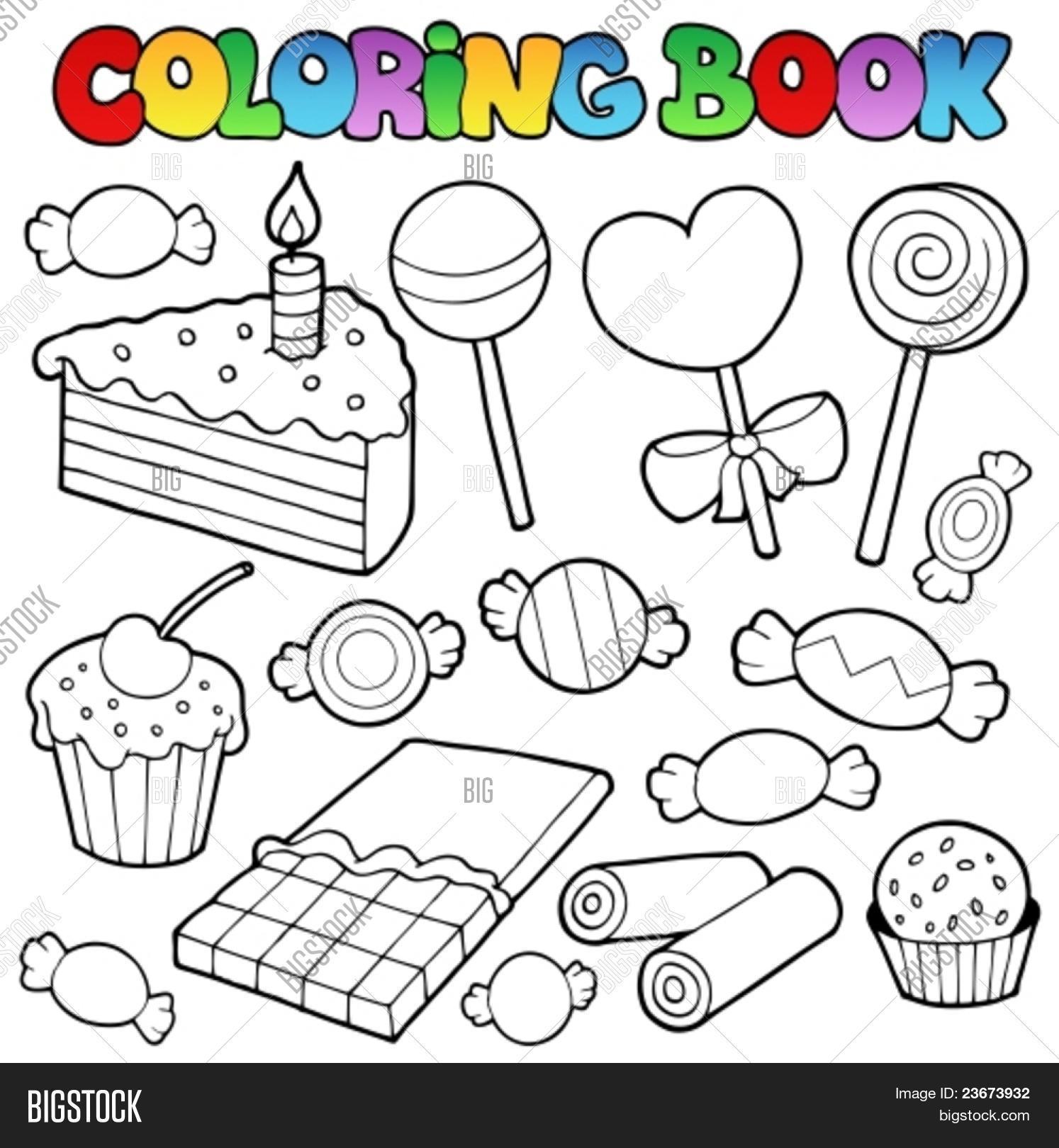 Vector y foto Para Colorear Libro Dulces Y | Bigstock