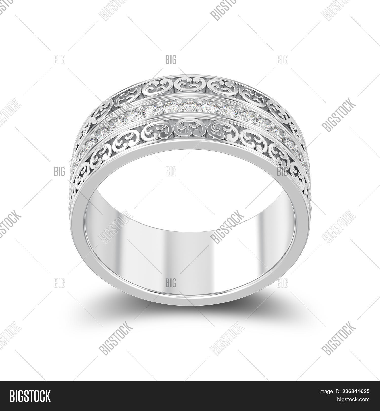 Ilration Isolated Silver Decorative Wedding Bands Carved Out Ring With Ornament Shadow O