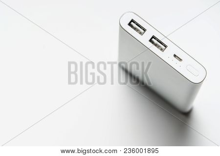 White Silver Power Bank Isolate. Save Energy And Reduce Energy Efficiency Concept