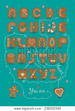 Artistic Alphabet With Encrypted Romantic Message You Are My Sweet Heart. Brown Letters As Ginger Br