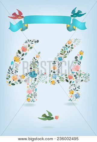 Floral Number Fourty Four With Blue Ribbon And Colorful Birds. Watercolor Graceful Flowers, Plants A