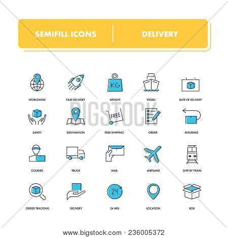 Line Icons Set. Delivery Pack. Vector Illustration For Shipping And Logistics