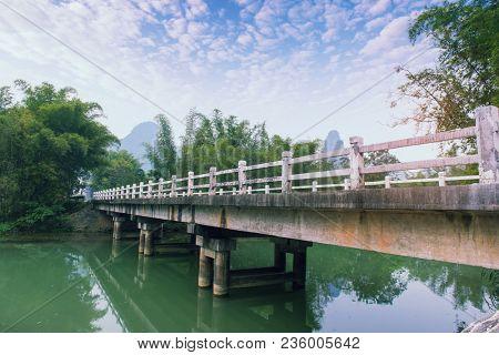 road on Dragon bridge over Yulong river in Yangshuo county