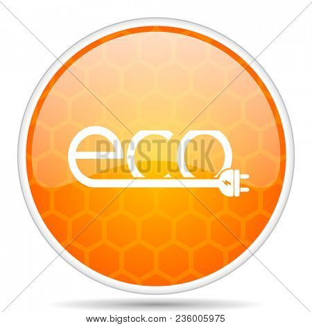 Eco electric plug web icon. Round orange glossy internet button for webdesign.