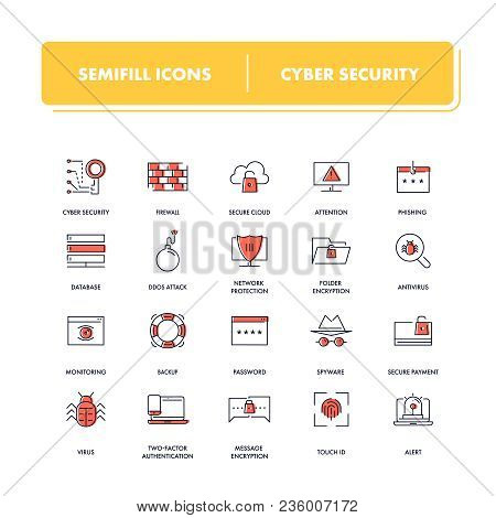 Line Icons Set. Cyber Security Pack. Vector Illustration For Safe Your Computer