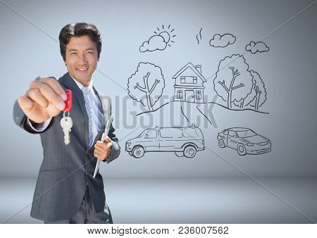 Businessman Holding key with home drawings in front of vignette
