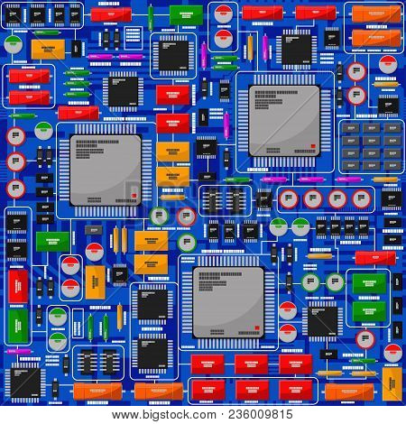 Pattern Of The Electrical Board, With Electronic Components. All Electronic Components Are Located I