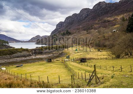 Loch Carron And The Rugged Mountainous Landscape Of The West Coast Of Scotland, Uk