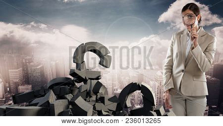 Broken concrete stone with pound symbol and businesswoman with magnifying glass in cityscape