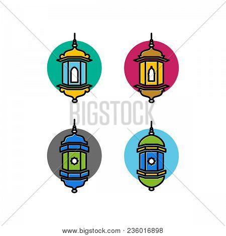 Arabic Tradotional Lamp Icon Illustration, Arabic Lamp Islamic Symbol