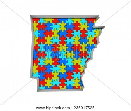 Arkansas AR Puzzle Pieces Map Working Together 3d Illustration