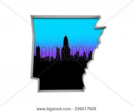Arkansas AR Skyline City Metropolitan Area Nightlife 3d Illustration