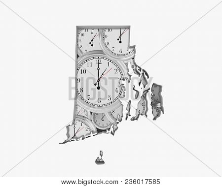 Rhode Island RI Clock Time Passing Forward Future 3d Illustration
