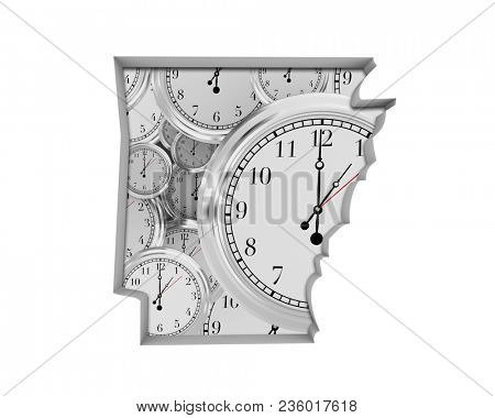 Arkansas AR Clock Time Passing Forward Future 3d Illustration