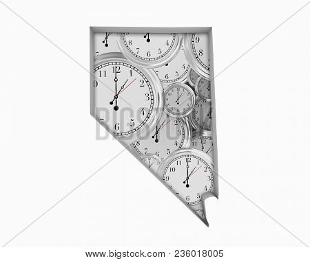 Nevada NV Clock Time Passing Forward Future 3d Illustration