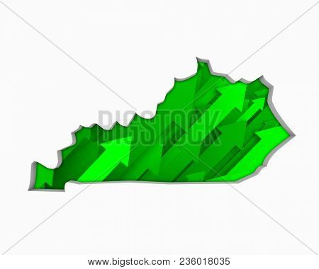 Kentucky KY Arrows Map Growth Increase On Rise 3d Illustration