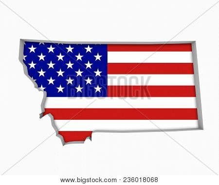 Montana MT USA Flag Stars Stripes Map 3d Illustration