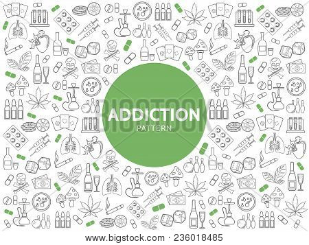 Bad Habits Line Icons Pattern With Alcohol Drinks Smoking Gambling Mushroom Drugs Money Harmful Addi