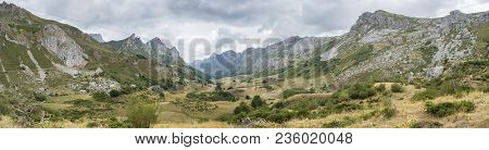 Panoramic View Of Valley Of The River Rio Del Valle, In Somiedo Nature Reserve. It Is Located In The