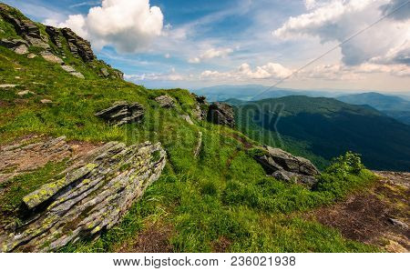 Beautiful Summer Landscape In Mountains. View From The Hillside In To The Valley And Nearby Ridge Un