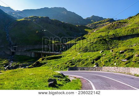 Transfagarasan Road Up Hill To The Mountain Top. Beautiful Transportation Scenery In Mountains Of Ro