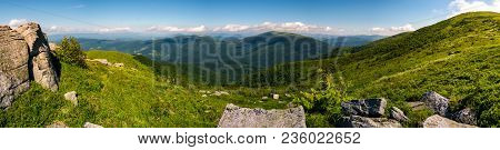 Gorgeous Panoramic Landscape On Runa Mountain. Summer Scenery In Beautiful Light. Huge Rocks On A Gr