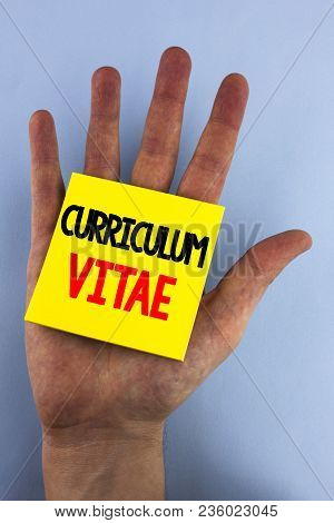 Conceptual Hand Writing Showing Curriculum Vitae. Business Photo Showcasing Resume Preparation Desig