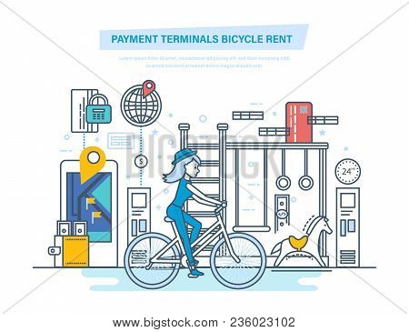 Payment Terminals Bicycle Rent. City Bike Hire Renting For Tourists. Trip To Park By Bike, Mobile Ap