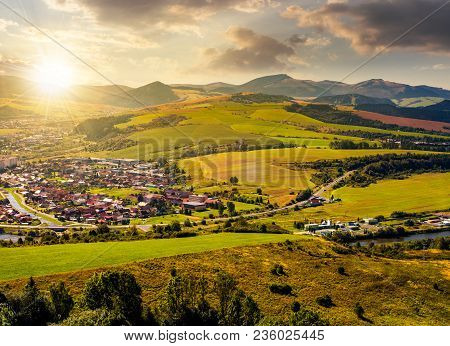 Stara Lubovna Town In Slovakia At Sunset. Lovely Summer Landscape In Summer