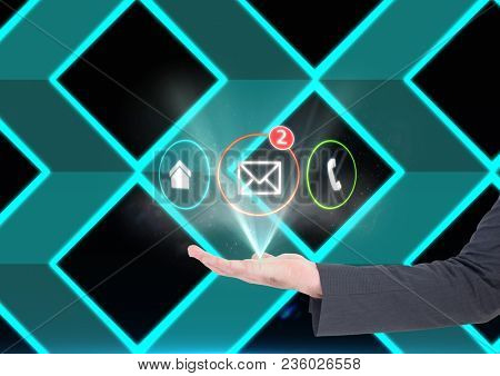 hand with application icons coming up form it. Technological background