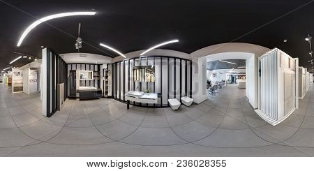 Minsk, Belarus - June 2017: Panorama 360 Angle View In Interior Modern Ceramic Tile Shop, Showroom B