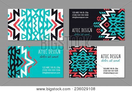 Aztec Colorful Hand-drawn Ornamental Visiting Card Template. American Indian Leaflet Design. Tribal